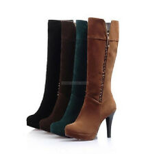 Fashion Womens Ladies Comfort High Heels Stilettos Shoes Knee High Boots US Size