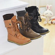 Retro Womens Lace Up Buckle Strap Ankle Boots Round Toe Girls Shoes Plus Size
