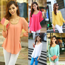 Korean Women's Loose Chiffon Tops Long Sleeve Shirt Casual Blouse New