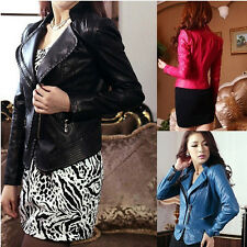 In Vogue Womens Shallow Metal Zipper Decoration Long Slender Leather Jacket USWB