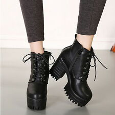 Women Chunky Heels Platform Cleated Sole Pump Martin Boots Lace Up Ankle Booties