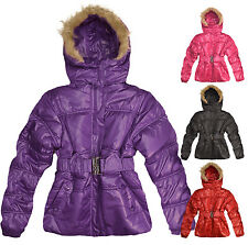 Girls Winter Coat Kids Warm Padded Fur School Jacket Hooded New Age 3 - 12 Years