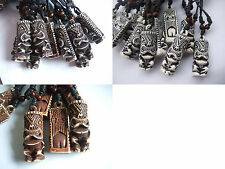 12 pcs Wax Cotton Cord Yak Bone Carving Tiki Man Totem Pendant Charming Necklace