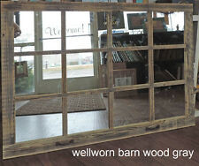 Barn Wood 12-Pane Window Mirror Rustic Mantel or Wall Hanging Large Mirror 46x36