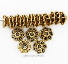 100pcs 9mm Retro Zinc Alloy Flower Shaped Silver/Gold/Bronze Bead Cap