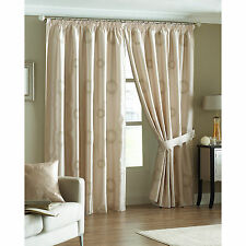 Just Contempo Sale – Geometric Circles Natural Satin Curtains – Pencil Pleat