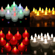 12 Waterproof LED Floating Tea Light Flameless Candle Wedding Party White Amber