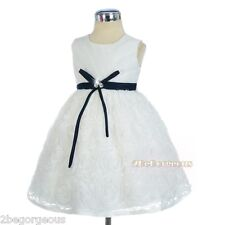 Embossed Flower Dress Wedding Flower Girl Party Occasion Size 18m 2 3 4 5 6 #306