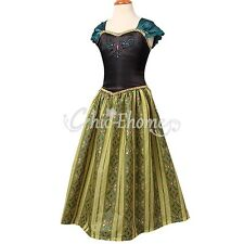 Frozen Anna Princess Dress Coronation Gown Costume Ice Queen Dresses Size 3-8Y