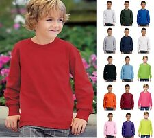 Fruit of the Loom Youth Crewneck Long Sleeve Cotton Tee T-Shirt 4930B-16 COLORS!