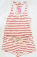 Juicy Couture JC Monogram Striped Racerback Tank Silk Tie Shorts Set NWT M L