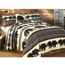 Bear Lightweight Fleece Blanket Sham Set Woodland Northwood Lodge Cabin Decor