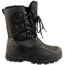 MENS BLACK WINTER SNOW SKI FUR LINED WATERPROOF JOGGERS LACE UP RAIN BOOTS 3-8