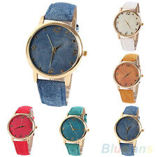 Lady's Jean Fabric Band Faux Leather Gold Plated Case Analog Quartz Wrist Watch