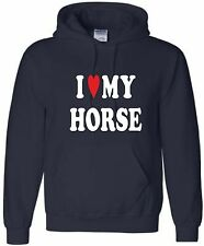 I LOVE MY HORSE PERSONALISED HOODIE HORSERIDING HOODY HORSE RIDING HOODED SWEAT