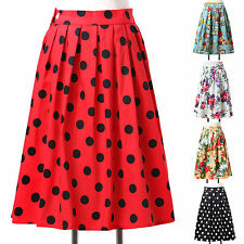 NEW Polka Dots Floral Rockabilly Retro 50s 60s Party Housewife Short Dress Skirt