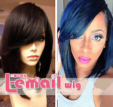100% remy human hair Short straight bob Fashion full lace wigs/lace front wig