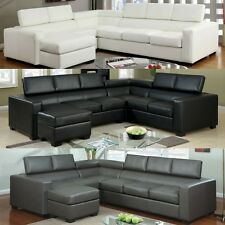 Modern Bonded Leather Sofa Reversible Chaise Set w/ Gas Lift Headrests Option