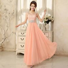 New Long Pink Prom Bridesmaid Gown Evening Formal Party Cocktail Prom Dress