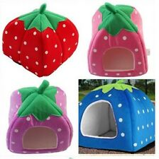 NEW SOFT SPONGE STRAWBERRY PET DOG CAT BED HOUSE CUSHION BASKET KENNEL PORTABLE