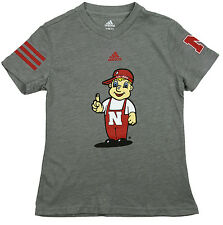 Adidas NCAA College Youth Girls Nebraska Cornhuskers T-Shirt - Light Gray