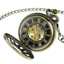 PACIFISTOR Skeleton Semi Automatic Mechanical Mens Antique Windup Pocket Watch