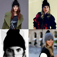 Fashion Women Girl Retro Sexy Ski knit veil Mesh Net Hats Winter Warm Beanie Cap