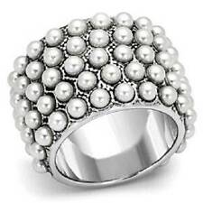 LOA832pb  PEARL WIDE BAND RING 5ROW RHODIUM BONDED  COCKTAIL WOMENS