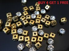 SEW ON Clear Crystal DIAMANTE Rhinestones-AAA* Grade Glass-Many Sizes Gold Case