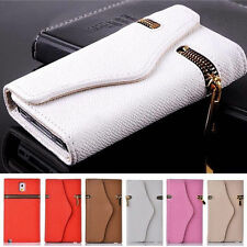 Unique Leather Zipper Wallet Phone Case Cover Card Holder For Samsung and iPhone