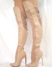 New BEBE Harley Thigh High Boots Beige 5 6 7 Shoes Stiletto