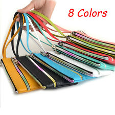 Women Clutch Zipper PU Leather Long Handbag Wristlet Lady's Wallet Coin Purse 。。