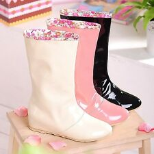 Womens PU Waterproof Colorful Rain Shoes Boots Floral Stitching Mid-calf Boots