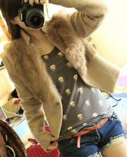 Fashion Womens Wool Blend Outwear Slim Fit  Stand Collar Overcoat Short Jacket