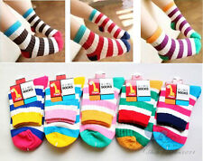3 Pairs Vogue Kids Toddler Clothes Boys Girls Bright Stripes Ankle Socks Sz2-12Y