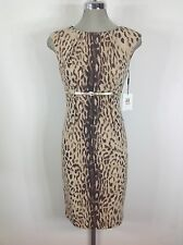 Calvin Klein  NWT Sand multi Animal print Dress with high waist and Gold  belt