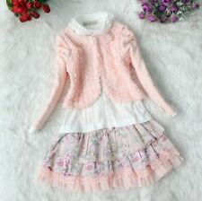Lovely Girl's  3PCS Dusty Rose Cardigan+T-Shirt+Floral Princess Skirt Suits Set
