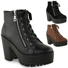 LADIES WOMENS CHUNKY CLEATED SOLE PLATFORM LACE UP BIKER PUNK ANKLE BOOTS SHOES