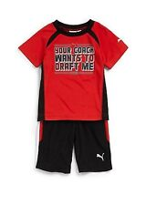PUMA Kids Toddler Boy's 2-Piece Your Coach Wants To Draft Me Tee & Shorts Set 2T