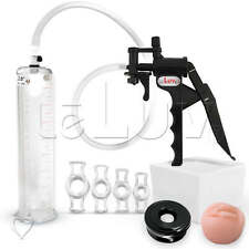 "LeLuv TYRO 9"" Penis Pump ED Kit w/ Sleeve, Donut & 4 C. Rings - Pick Diameter"