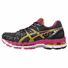 Asics Gel-Kayano 20 Black Lime 2014 Womens Cushion Jogging Running Shoes Trainer