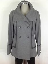 Calvin Klein NewWT Modern Women's Gray Coat Faux leather Trimed Double Breasted