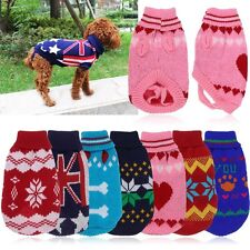 Dog Pet Sweater Coat Clothes, Multi-color Knit, Soft Cozy, Small to Large (6-12)