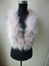 Fashion/Free shipping/real ostrich feather fur vest/jacket/S-M-L-XL light pink