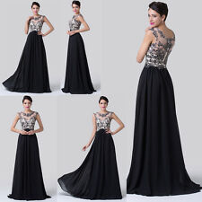 New Long Black applique Prom Gown Evening/Formal/Party/Cocktail /Prom Dress 2014