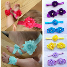 HOT Colorful Foot Flower Barefoot Sandals Headband Set for Baby Infants Girls