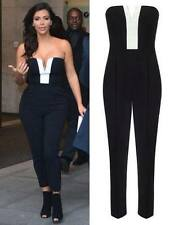 LADIES CELEB KIM KARDASHIAN PLAYSUIT WOMEN BLACK & WHITE STRAPLESS JUMPSUIT 8-14