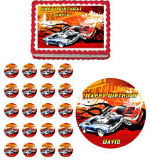 HOT WHEELS Edible Birthday Party Cake Topper Cupcake Image Decoration