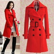 Women's trench slim winter warm coat long wool jacket outwear with belt