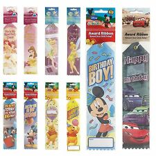 12 x Disney Childs Happy Birthday Party Treat Loot Gift Award Ribbons